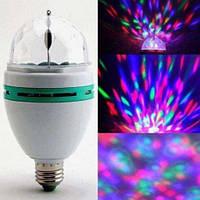 Светодиодная вращающаяся диско лампа с переходником LED Full Color Rotating Lamp Mini Party Light