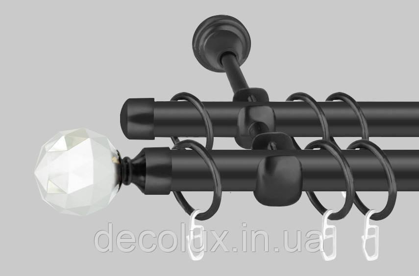 Чорний матовий Карниз для штор металевий, дворядний 19 мм (комплект) Кристал