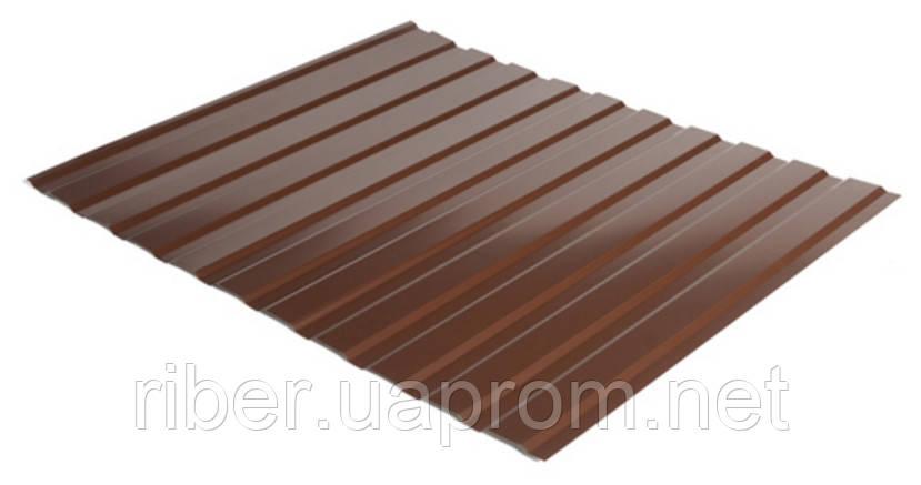Профнастил ПС 8 - 0,40мм 1200х2000, RAL 8017 (шоколадно-коричневый)