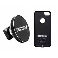 Автодержатель беспроводная зарядка DERZHAK U1+чехол адаптер к iPhone 6/6s/7 Черный
