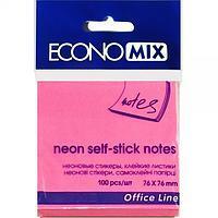 Блок для записей с клейким слоем 75*75 Economix неон малиновый