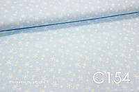 Ткань сатин Снежинки на голубом БРАК пятнышка 24 см от кромки (фото №3)