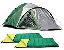 Туристические палатки, спальные мешки