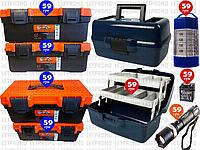 """8пр. Набор ящиков для инструмента (ящики 11-14"""", 2-х полочный, фонарик police 8628, 15 LED подвесной фонарь)"""