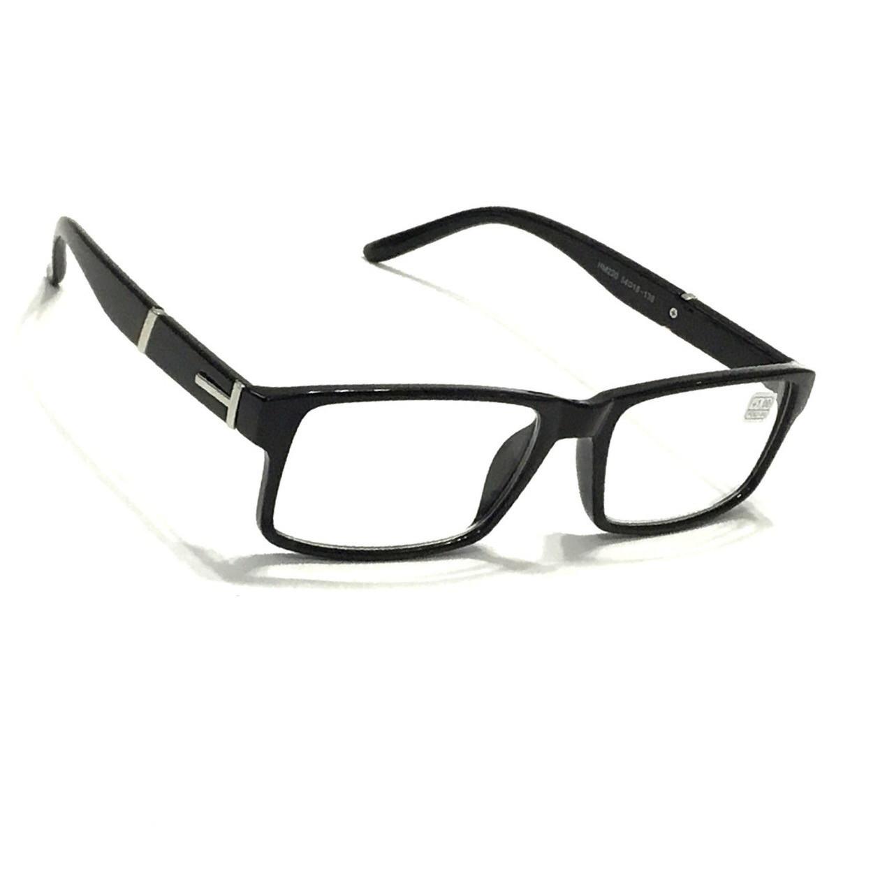 Мужские очки в пластмассовой оправе  с белой линзой