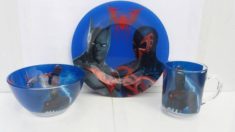 Набор посуды из стекла для  мальчиков Бетмен и Спайдермен