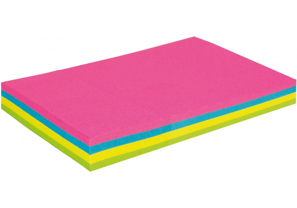 Блок для записей с клейким слоем 50*75, 100 листов неон микс