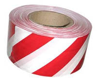 Лента сигнальная оградительная 200м красно-белая