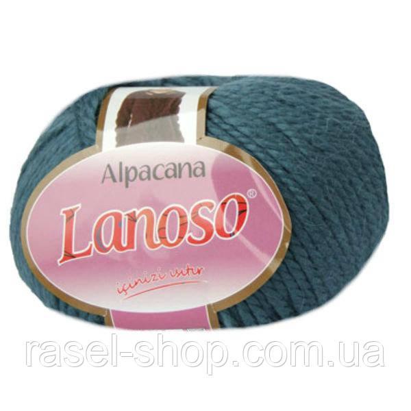 Зимняя пряжа Lanoso Alpacana 3016 25% альпака джинсовая