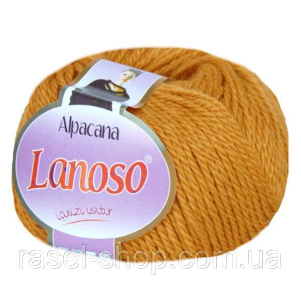 Зимняя пряжа Lanoso Alpacana 3022 25% альпака горчица