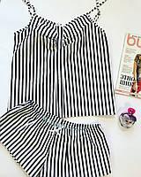 Хлопковая пижама Женская, В полоску, 100% хлопок, S-М, М-Л размеры, Маечка и шортики