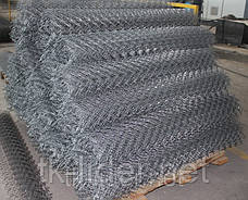 Сетка рабица, сетка рабица в рулонах, ячейка 30x30 мм, 10000x2000 мм,  д= 1.5 мм оц, фото 3