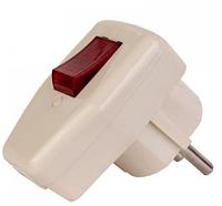 Вилка электрическая с заземлением и выключателем LEMANSO LMA002