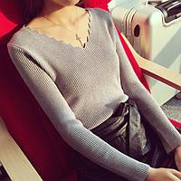 Женская модная кофточка с вырезом серая опт, фото 1