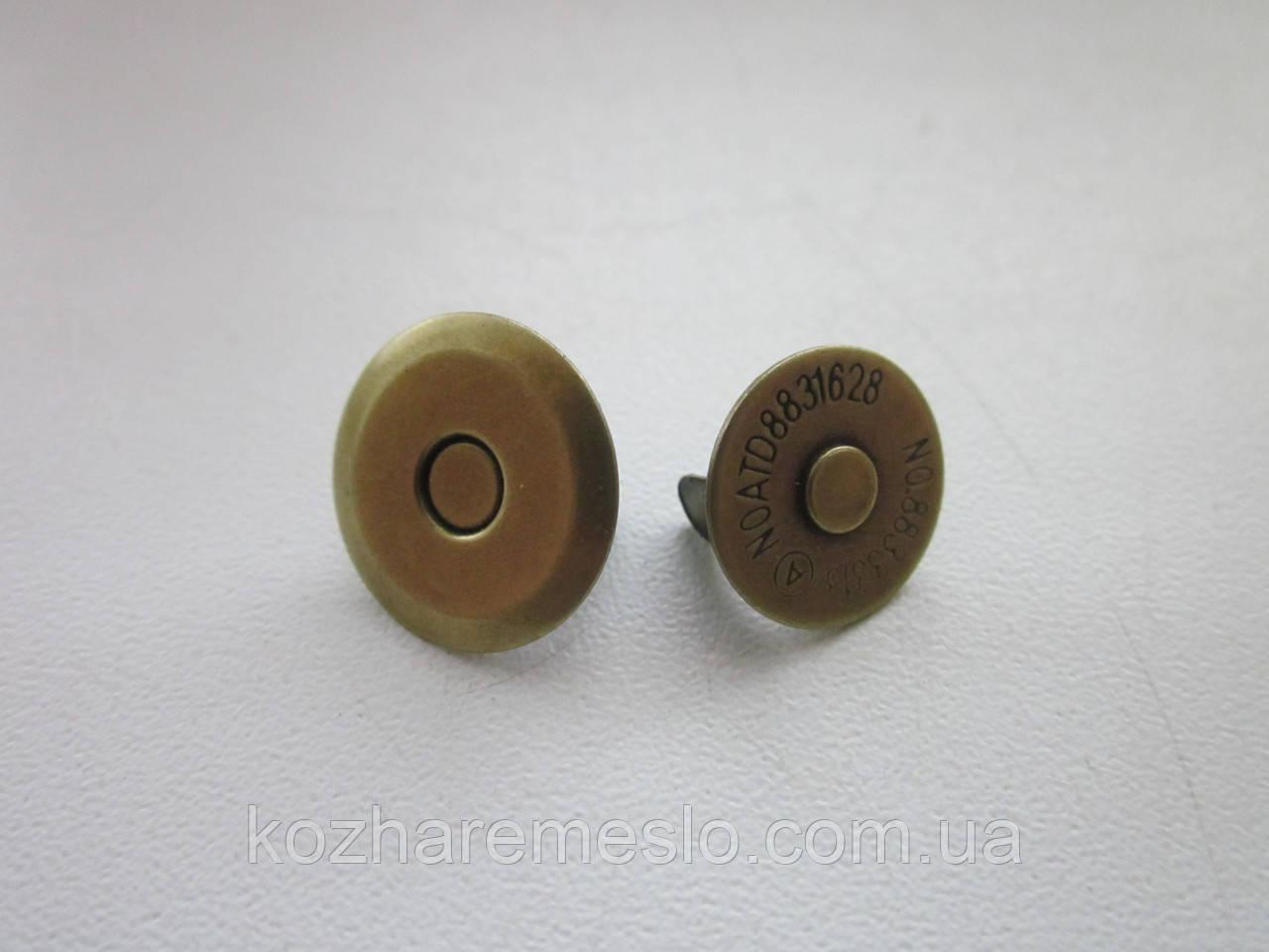 Кнопка - магнит 16 мм антик