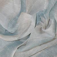 Натуральная гардина лен в полоску молочный-голубой