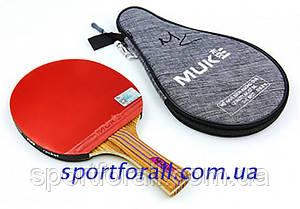 Ракетка для настольного тенниса 1 штука в чехле MUK 200B 2* (древесина, резина) Код 200B