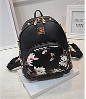 Женский городской рюкзак с шипами. Магнолия шипы. Чёрный, фото 1