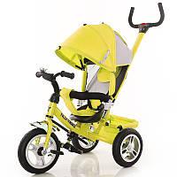 """Велосипед 3-х колёсный """"Tilly Trike"""" желтый с крышей и ручкой"""