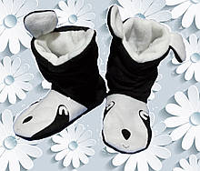 Теплые комнатные тапочки сапожки из флиса Панда