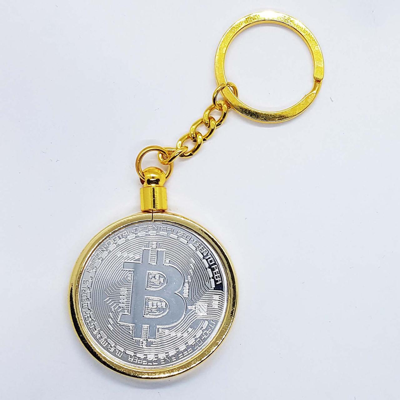 Брелок на ключи в виде монеты Bitcoin серебряная