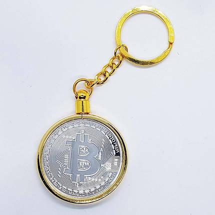 Брелок на ключи в виде монеты Bitcoin серебряная, фото 2