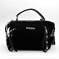 Стильная женская замшевая сумочка черного цвета ВВВ-200099, фото 1