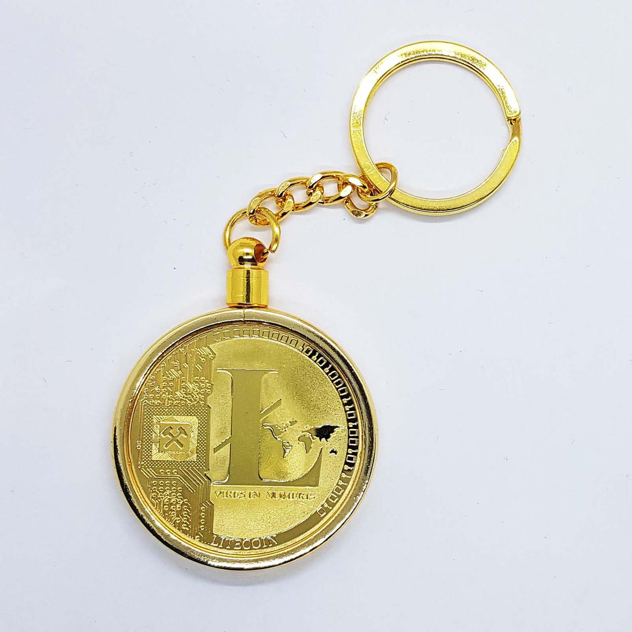 Брелок на ключи в виде монеты Litecoin позолоченная