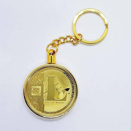 Брелок на ключи в виде монеты Litecoin позолоченная, фото 2
