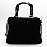 Строгая замшевая женская сумочка черного цвета ВВВ-200103, фото 1