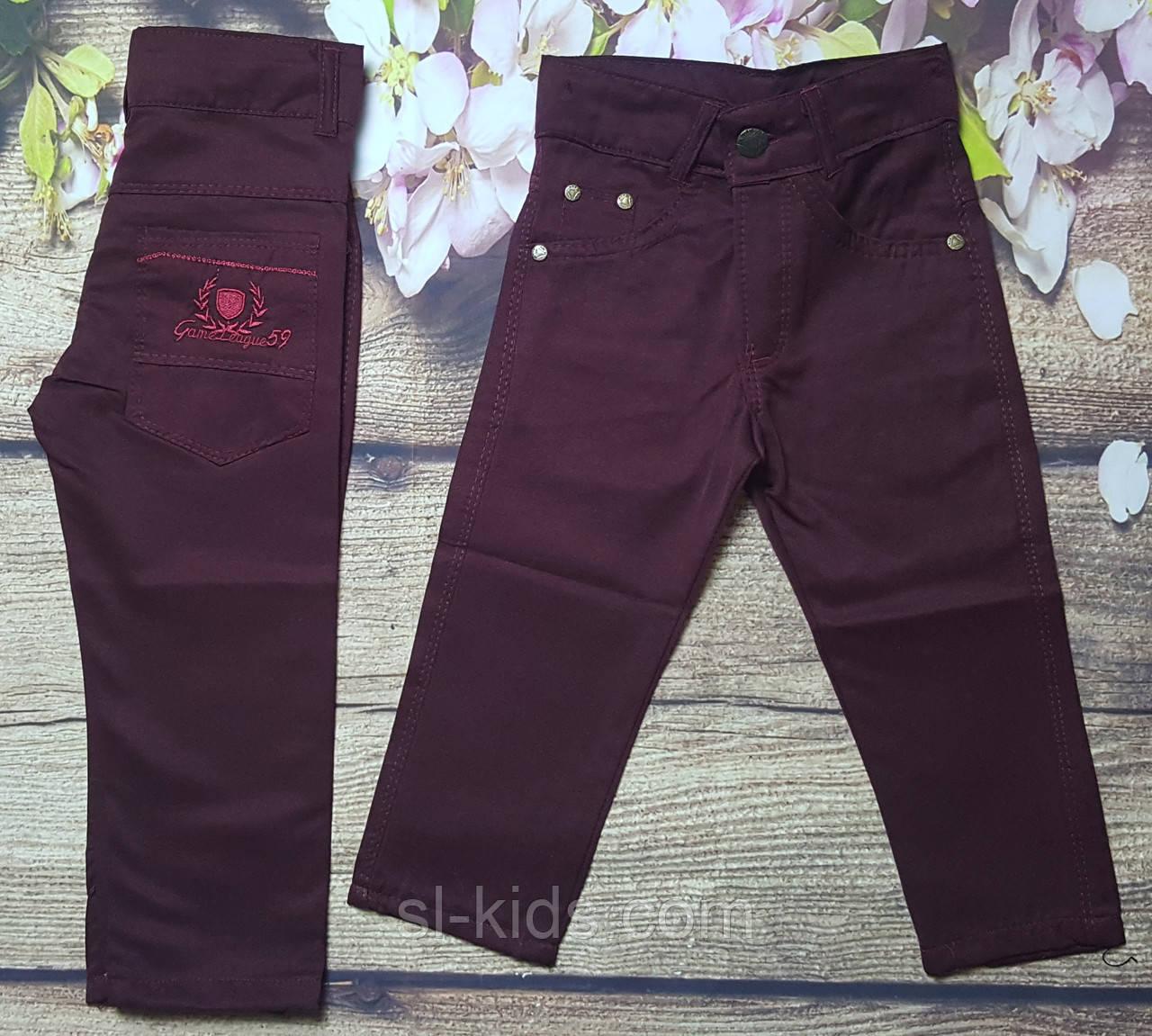Яркие котоновые штаны для мальчика 3-7 лет (бордовые) опт пр.Турция