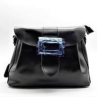 Шикарная кожаная женская сумка с пряжкой черного цвета ВВВ-200110, фото 1