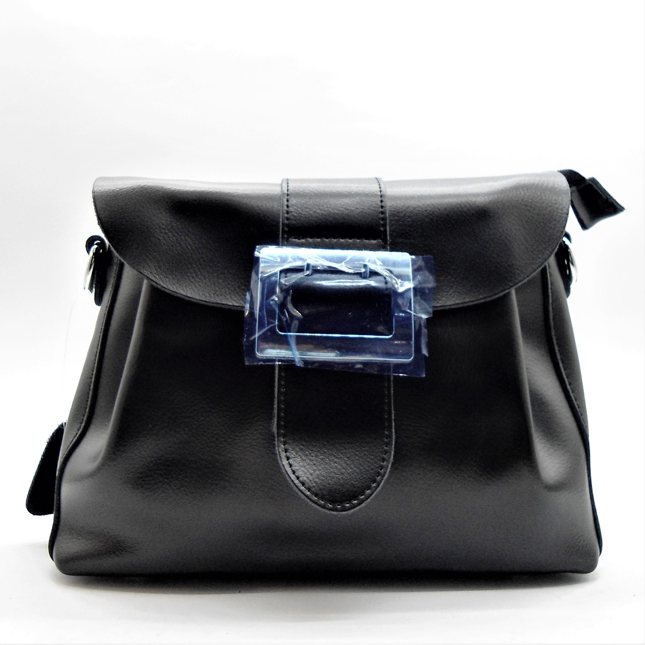 3691ff6aaa44 Шикарная кожаная женская сумка с пряжкой черного цвета ВВВ-200110 ...