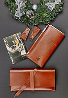 Подарочный набор для пары натуральная кожа (два кошелька, два брелока, открытка) ручная работа
