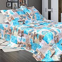 """Комплект постельного белья """"Фантазия синий"""" бязь (Простыня на резинке), Полуторный"""