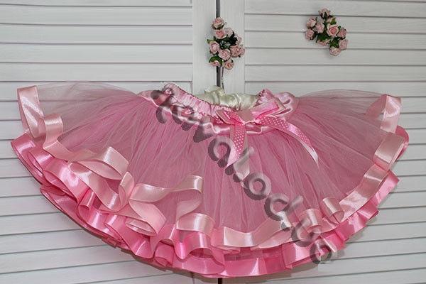 Розовая фатиновая пышная юбка  для девочки