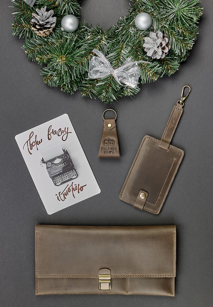 Подарочный набор кожаный коричневый (кошелек, брелок, багажная бирка, открытка) ручная работа