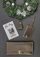 Подарочный набор кожаный коричневый (кошелек, брелок, багажная бирка, открытка) ручная работа, фото 1