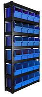 Стеллаж складской металлические 1000*360*1800 мм Пласт Бокс, Чёрно-Красный Вилково