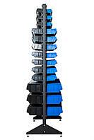 Стеллаж под метизы 1000*360*1800 мм Пласт Бокс, Чёрный Винники, фото 1