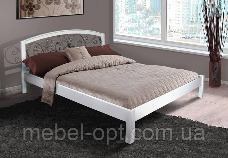 Кровать двуспальная деревянная с металлическим изголовьем Джульетта 180х200, цвет белый