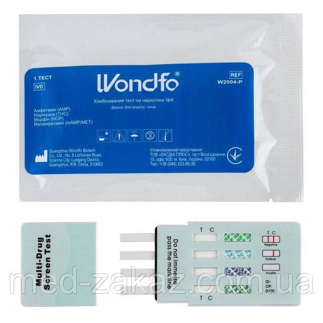 Тест на 4 наркотика: амфетамин (АМP), марихуана (THC), морфин (MOP), метамфетамин (МЕТ) W2004-P, WONDFO