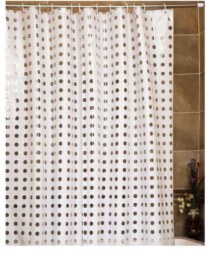 """Штора для ванной комнаты с кольцами """"Голд пойнт"""" белая/полупрозрачная"""