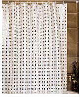 """Штора для ванной комнаты с кольцами """"Голд пойнт"""" белая/полупрозрачная, фото 1"""