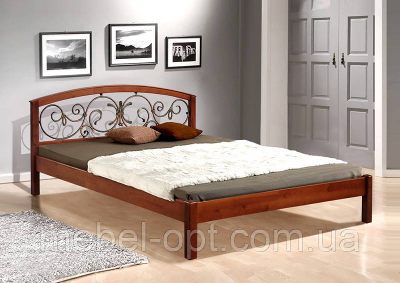 Кровать двуспальная деревянная с металлическим изголовьем Джульетта 180х200, цвет темный орех