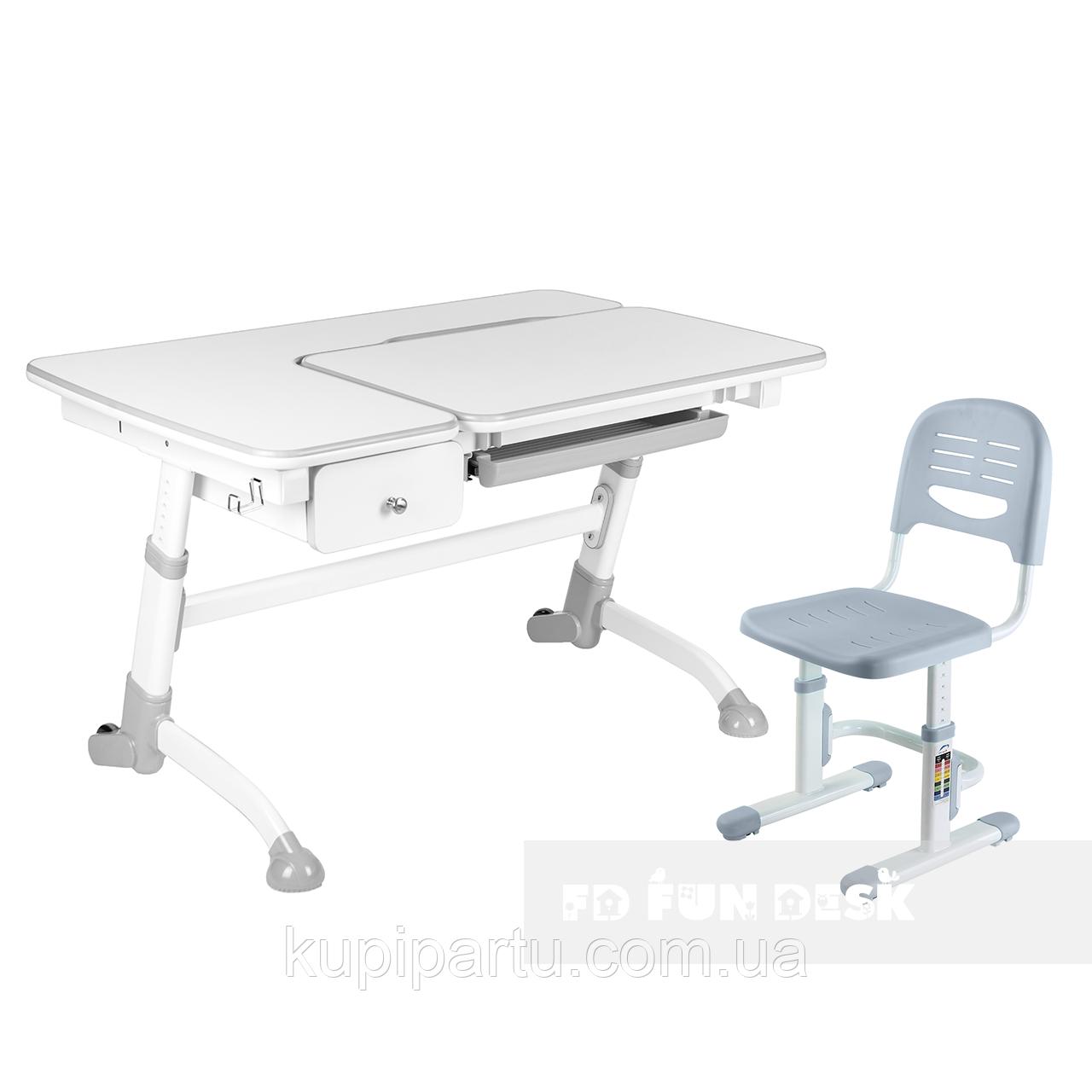 Комплект подростковая парта Amare Grey с выдвижным ящиком + детский стул SST3 Grey FunDesk
