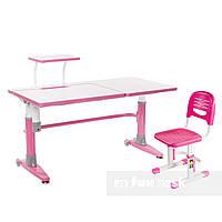Комплект подростковая парта для школы Ballare Pink + детский стул SST3 Pink FunDesk