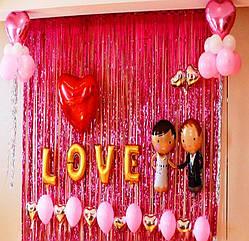 Шторка - завіса з мішури до дня Св. Валентина , червона 100х300 див.