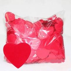 Конфетті червоні сердечка 250 г великі
