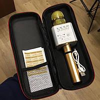 Микрофон караоке беспроводной Q9 портативный, блютуз+колонка золотой в чехле